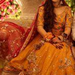 Yellow Blouse Embellished Net Lehenga Red Dupatta